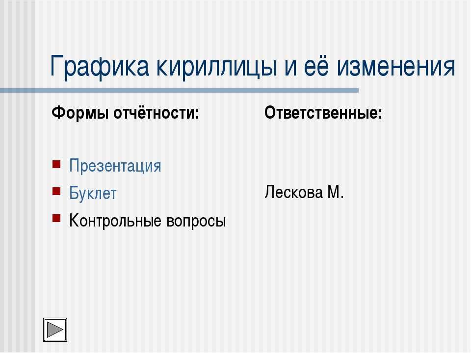 Графика кириллицы и её изменения Формы отчётности: Презентация Буклет Контрол...