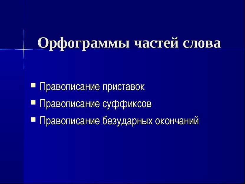 Орфограммы частей слова Правописание приставок Правописание суффиксов Правопи...