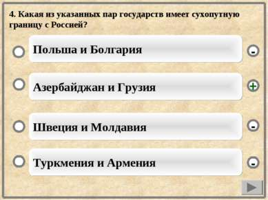 4. Какая из указанных пар государств имеет сухопутную границу с Россией? Азер...