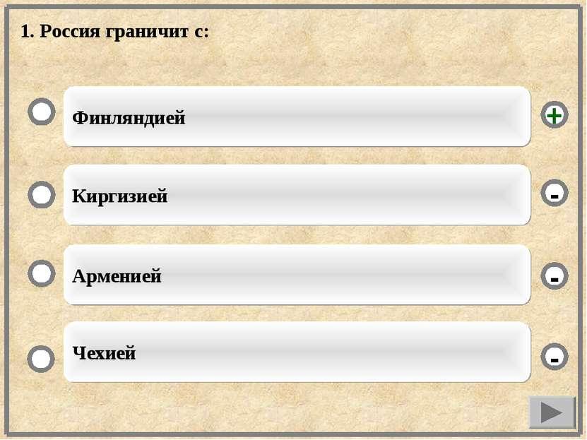 1. Россия граничит с: Финляндией Киргизией Арменией Чехией - - + -
