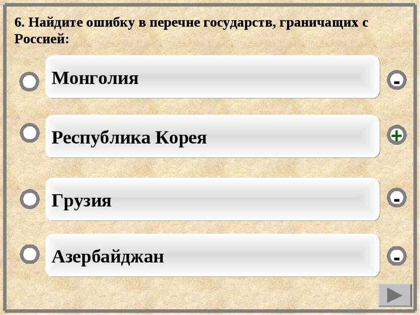 6. Найдите ошибку в перечне государств, граничащих с Россией: Республика Коре...