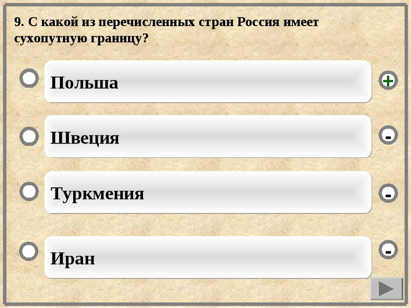 9. С какой из перечисленных стран Россия имеет сухопутную границу? Польша Шве...