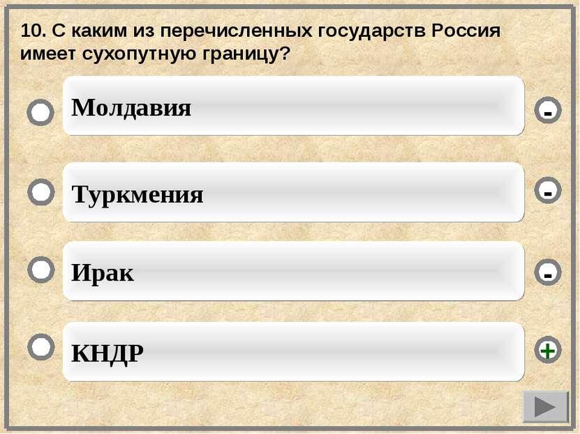 10. С каким из перечисленных государств Россия имеет сухопутную границу? КНДР...