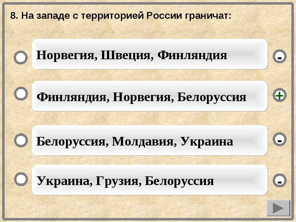 8. На западе с территорией России граничат: Финляндия, Норвегия, Белоруссия Б...