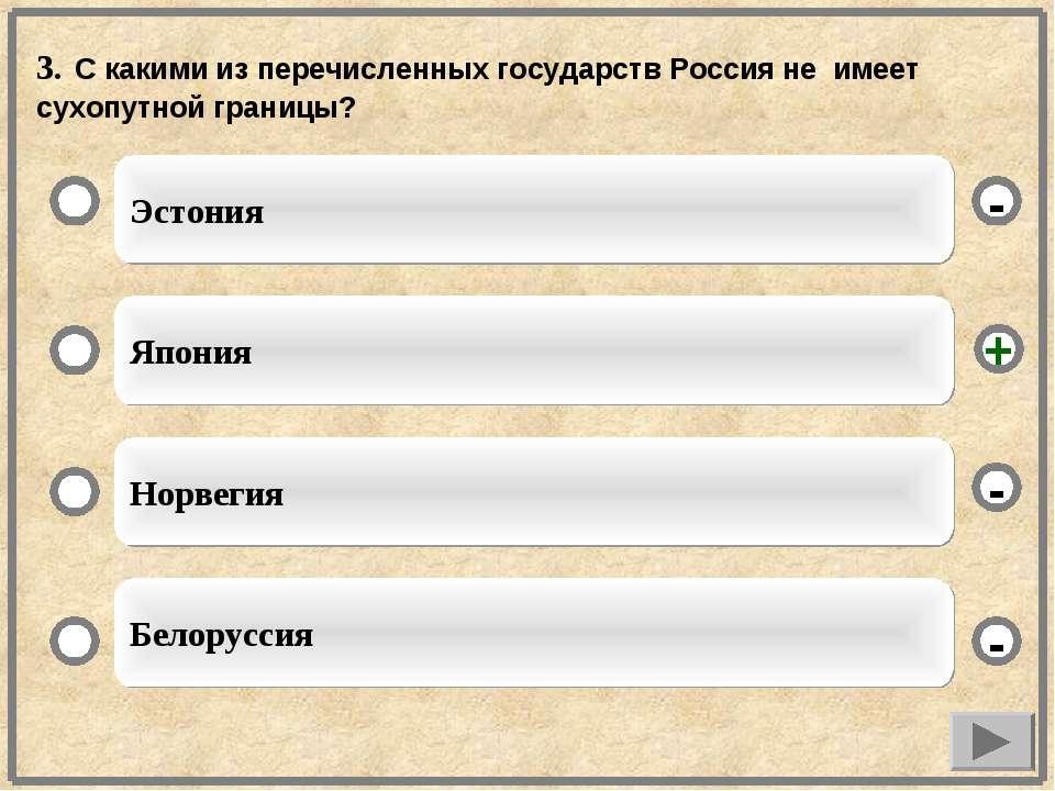 3. С какими из перечисленных государств Россия не имеет сухопутной границы? Э...