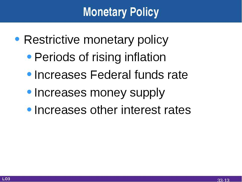 Monetary Policy Restrictive monetary policy Periods of rising inflation Incre...