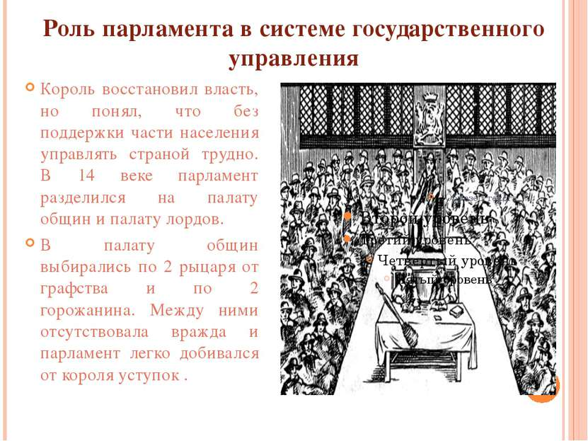 Роль парламента в системе государственного управления Король восстановил влас...