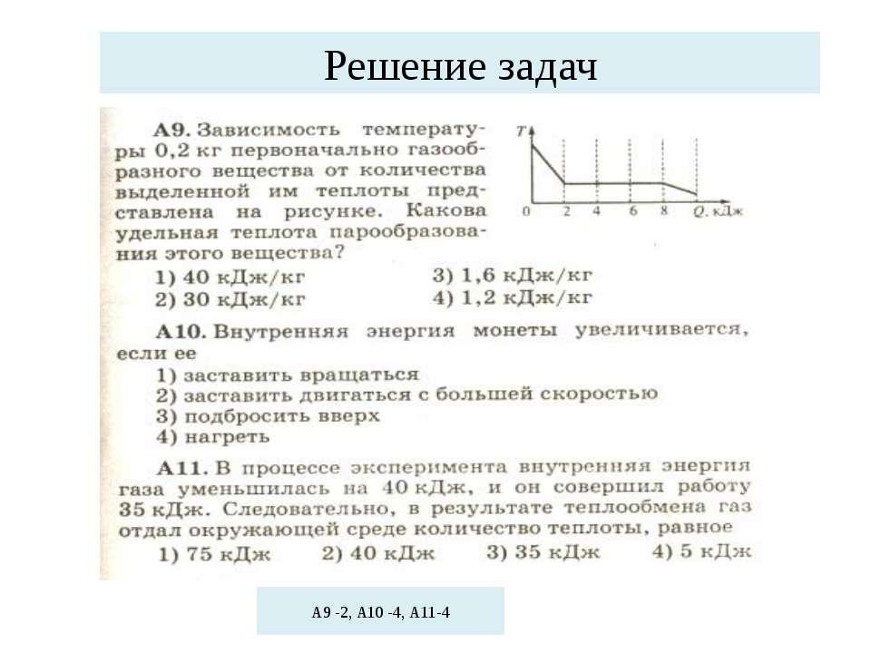 Решение задач А9 -2, А10 -4, А11-4