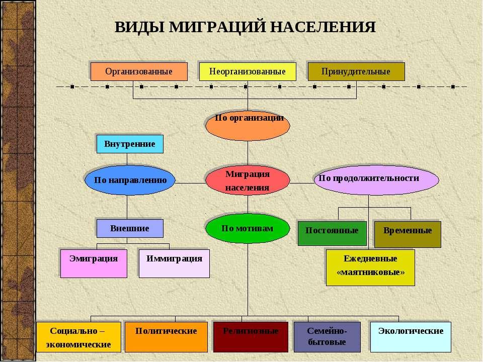 Организованные Неорганизованные Принудительные По организации Миграция населе...