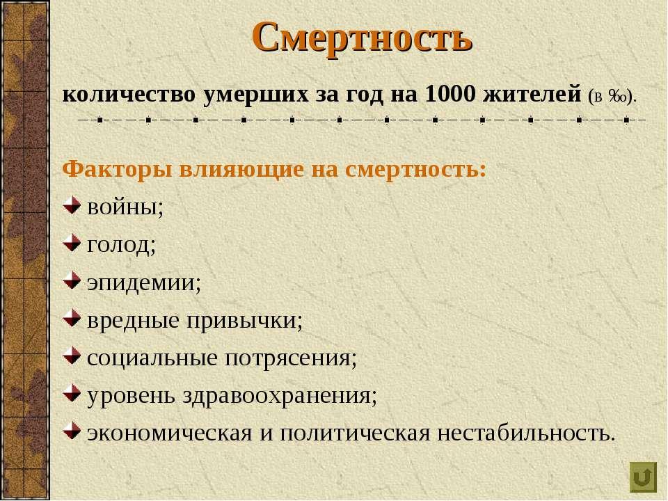 Смертность количество умерших за год на 1000 жителей (в ‰). Факторы влияющие ...