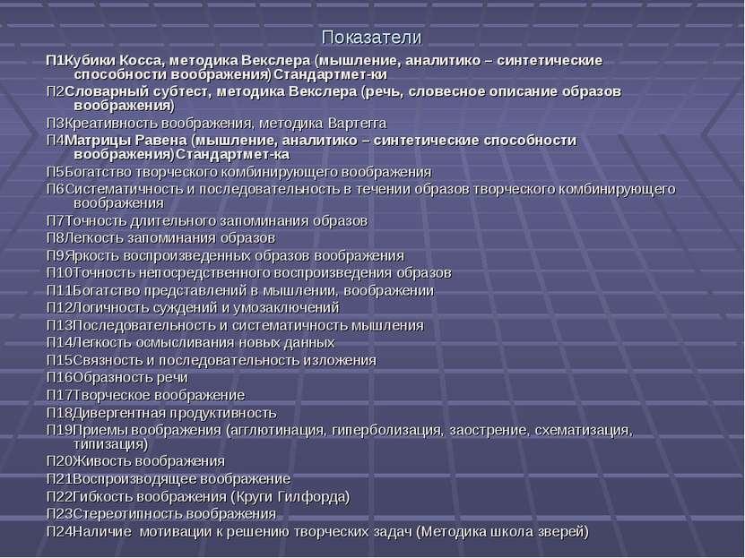 Показатели П1Кубики Косса, методика Векслера (мышление, аналитико – синтетиче...