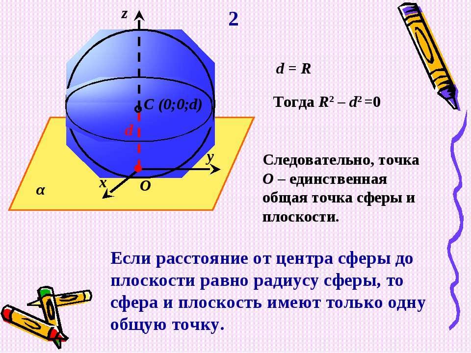 O d C (0;0;d) α y x z d = R Тогда R2 – d2 =0 Следовательно, точка О – единств...