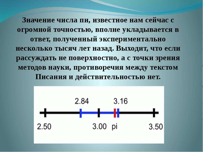 Значение числа пи, известное нам сейчас с огромной точностью, вполне укладыва...