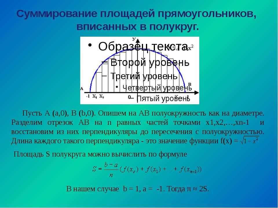 Суммирование площадей прямоугольников, вписанных в полукруг. Пусть А (а,0), В...