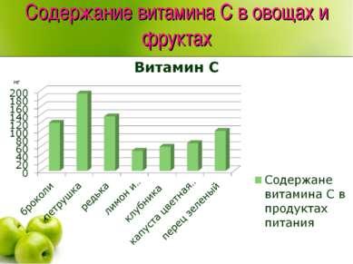 Содержание витамина С в овощах и фруктах