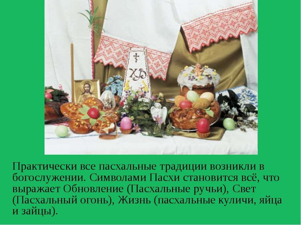 Практически все пасхальные традиции возникли в богослужении. Символами Пасхи ...
