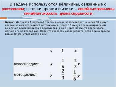 Некоторые задачи из курса математики Задача 1. ИзпунктаA круговой трассы вы...