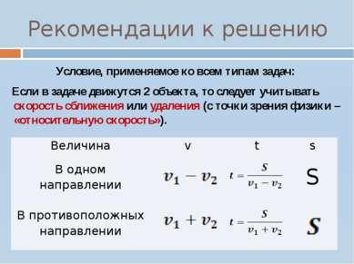 Рекомендации к решению Условие, применяемое ко всем типам задач: Если в задач...