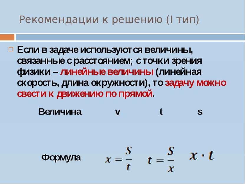 Рекомендации к решению (I тип) Если в задаче используются величины, связанные...