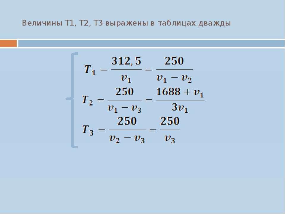 Величины T1, T2, T3 выражены в таблицах дважды
