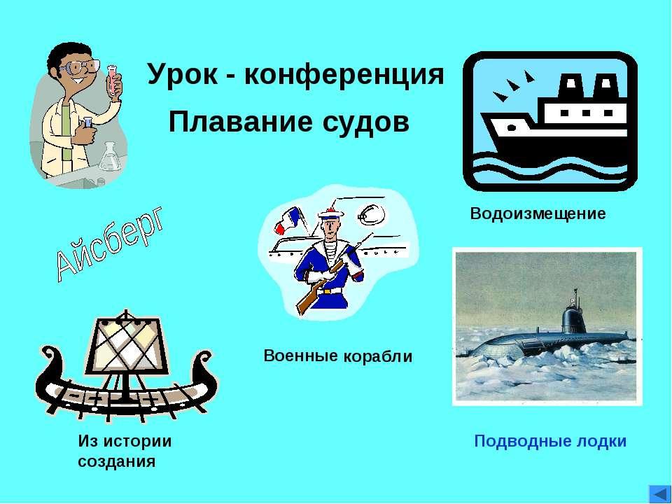 Урок - конференция Из истории создания Плавание судов Водоизмещение Военные к...