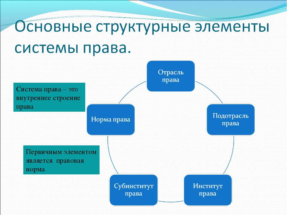 Система права – это внутреннее строение права Первичным элементом является пр...