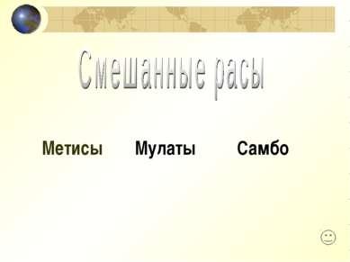 Метисы Мулаты Самбо