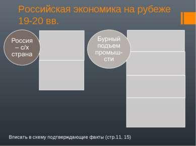 Российская экономика на рубеже 19-20 вв. Вписать в схему подтверждающие факты...