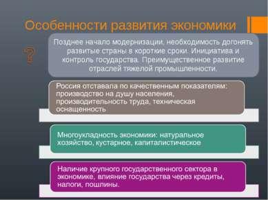 Особенности развития экономики Позднее начало модернизации, необходимость дог...