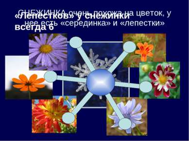 СНЕЖИНКА очень похожа на цветок, у нее есть «серединка» и «лепестки»