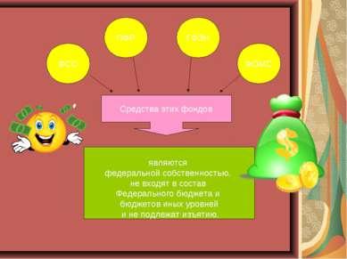 ФСС ПФР ГФЗН ФОМС Средства этих фондов являются федеральной собственностью, н...