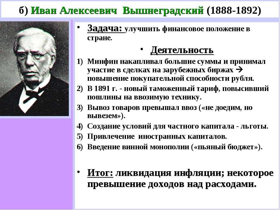 б) Иван Алексеевич Вышнеградский (1888-1892) Задача: улучшить финансовое поло...