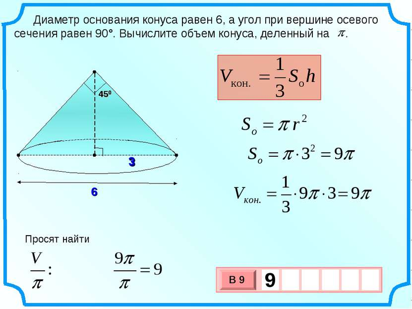 Диаметр основания конуса равен 6, а угол при вершине осевого сечения равен 90...