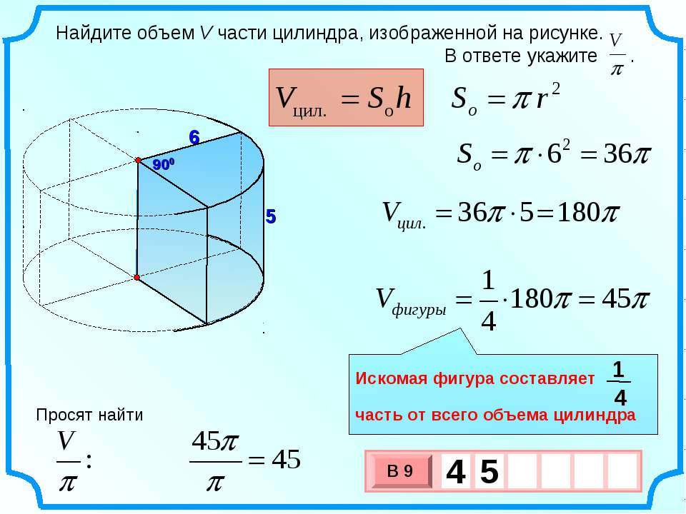 6 900 5 Просят найти Искомая фигура составляет часть от всего объема цилиндра