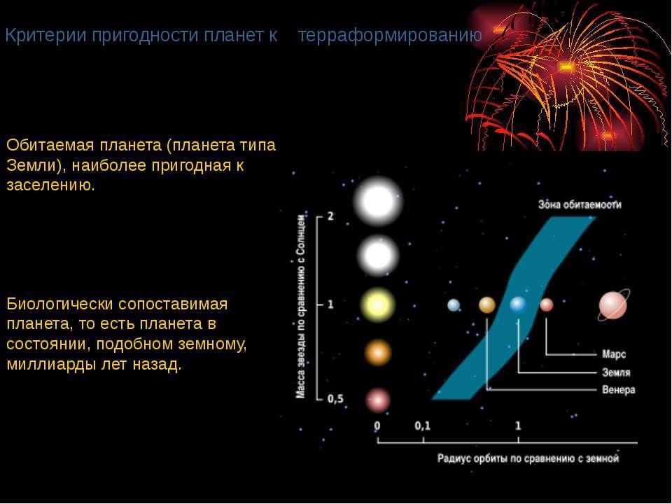 Критерии пригодности планет к терраформированию Обитаемая планета (планета ти...