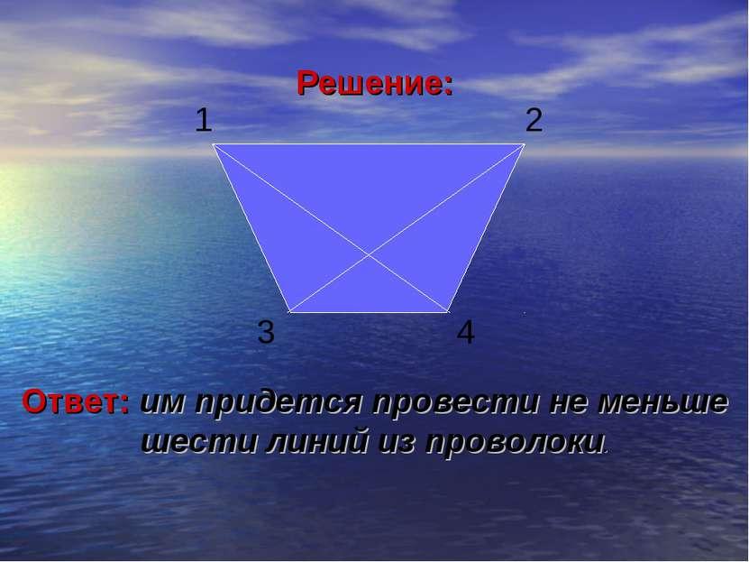 Решение: 1 2 3 4 Ответ: им придется провести не меньше шести линий из проволоки.