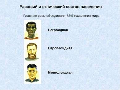 Расовый и этнический состав населения Главные расы объединяют 88% населения м...