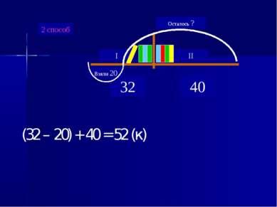 2 способ (32 – 20) + 40 = 52 (к)