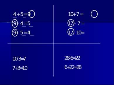 4 + 5 = 9 9 – 4 = 5 9 – 5 = 4 10+ 7 = 17 – 7 = 17 - 10= 10-3=7 7+3=10 28-6=22...