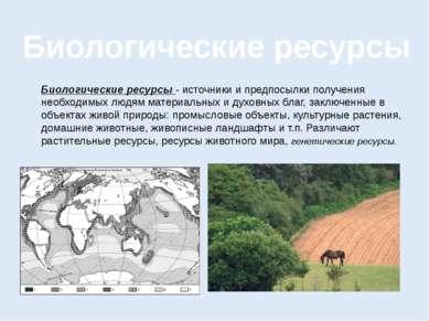 Биологические ресурсы Биологические ресурсы - источники и предпосылки получен...