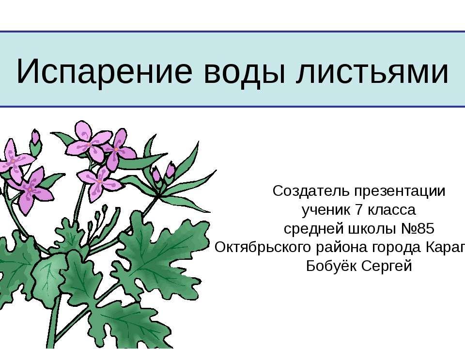 Испарение воды листьями Создатель презентации ученик 7 класса средней школы №...