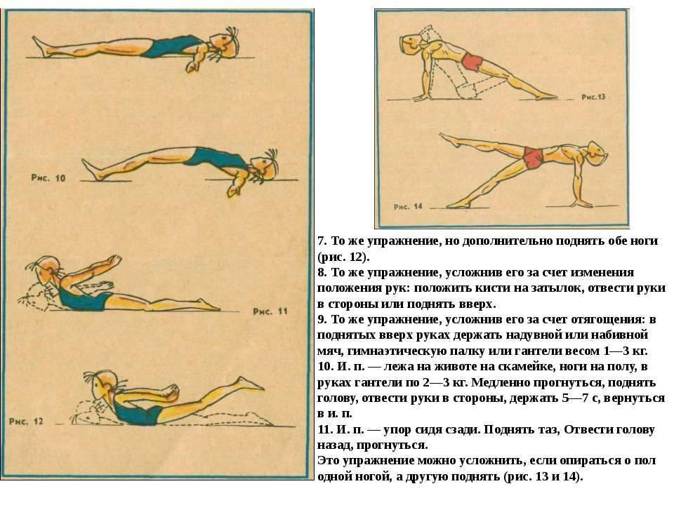 7. То же упражнение, но дополнительно поднять обе ноги (рис. 12). 8. То же уп...