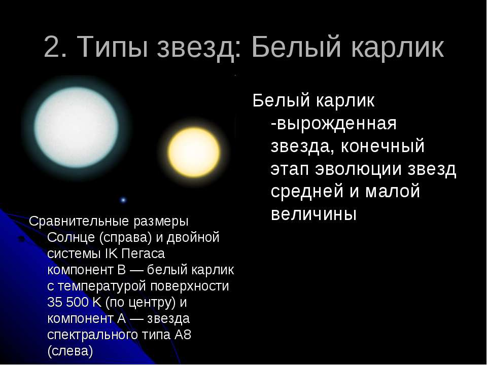 2. Типы звезд: Белый карлик Сравнительные размеры Солнце (справа) и двойной с...