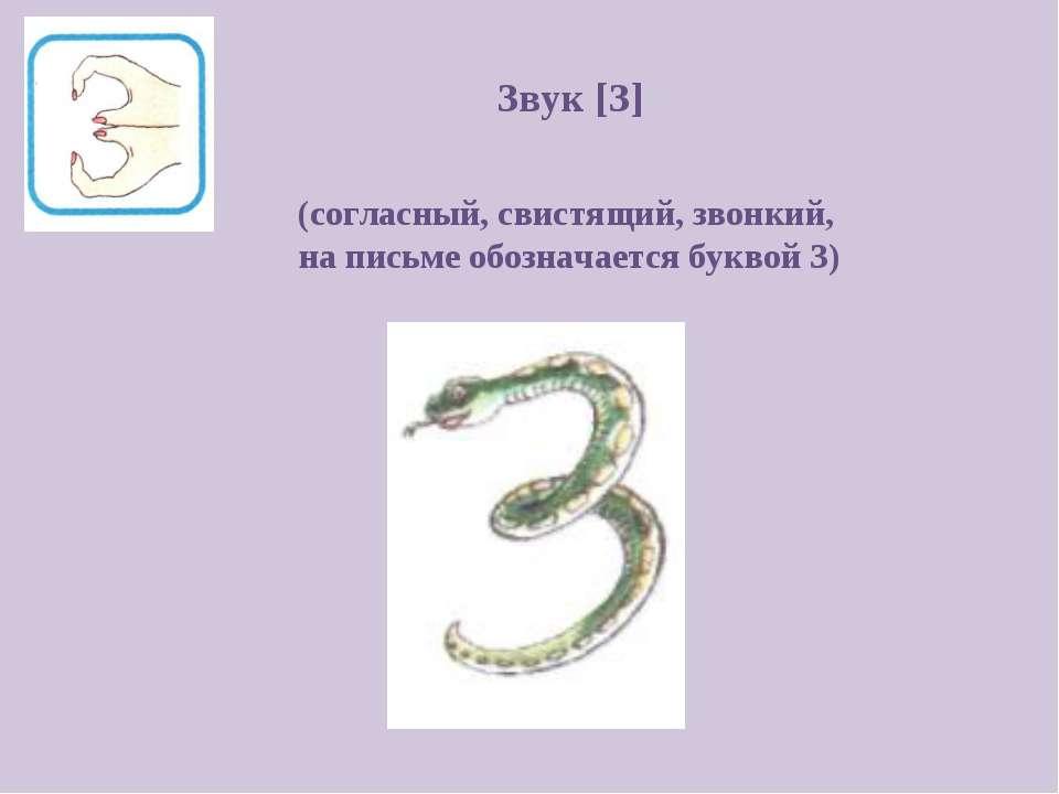 Звук [З] (согласный, свистящий, звонкий, на письме обозначается буквой З)