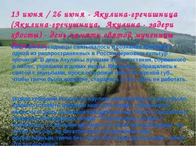 13 июня / 26 июня - Акулина-гречишница (Акилина-гречушница, Акулина - задери ...