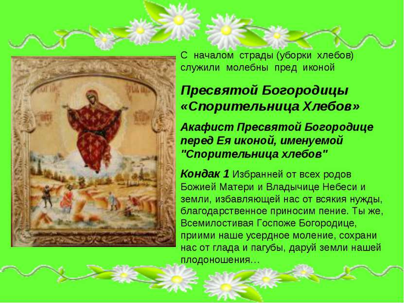 С началом страды (уборки хлебов) служили молебны пред иконой Пресвятой Богоро...