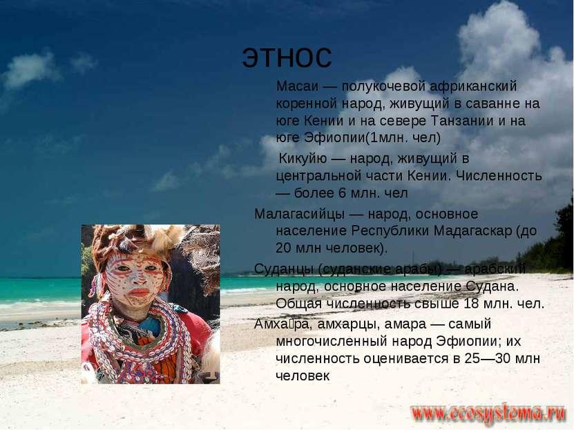 этнос Масаи — полукочевой африканский коренной народ, живущий в саванне на юг...