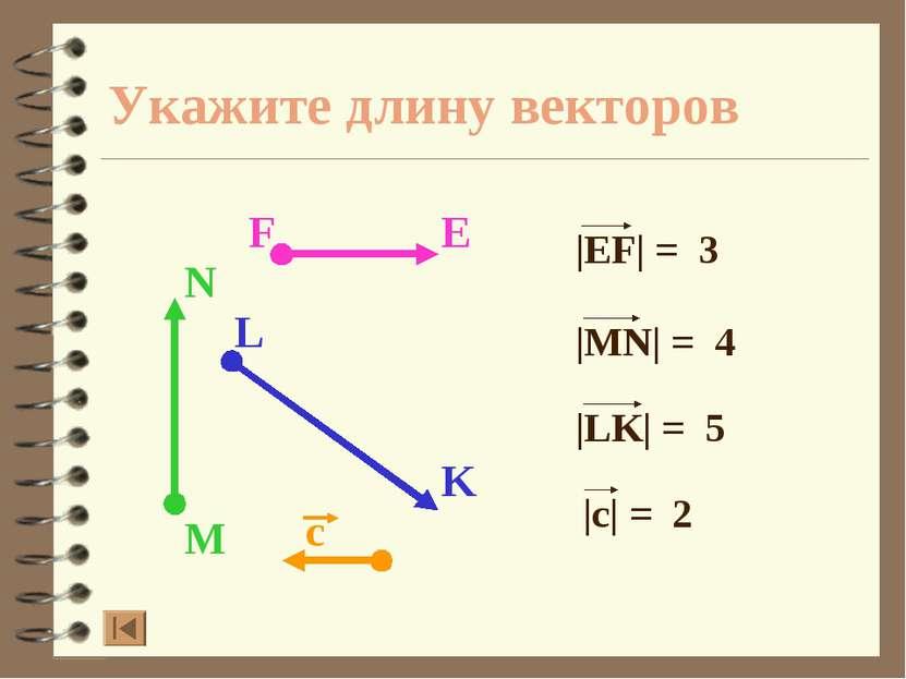Укажите длину векторов