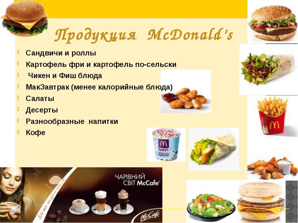 Сандвичи и роллы Картофель фри и картофель по-сельски Чикен и Фиш блюда МакЗа...