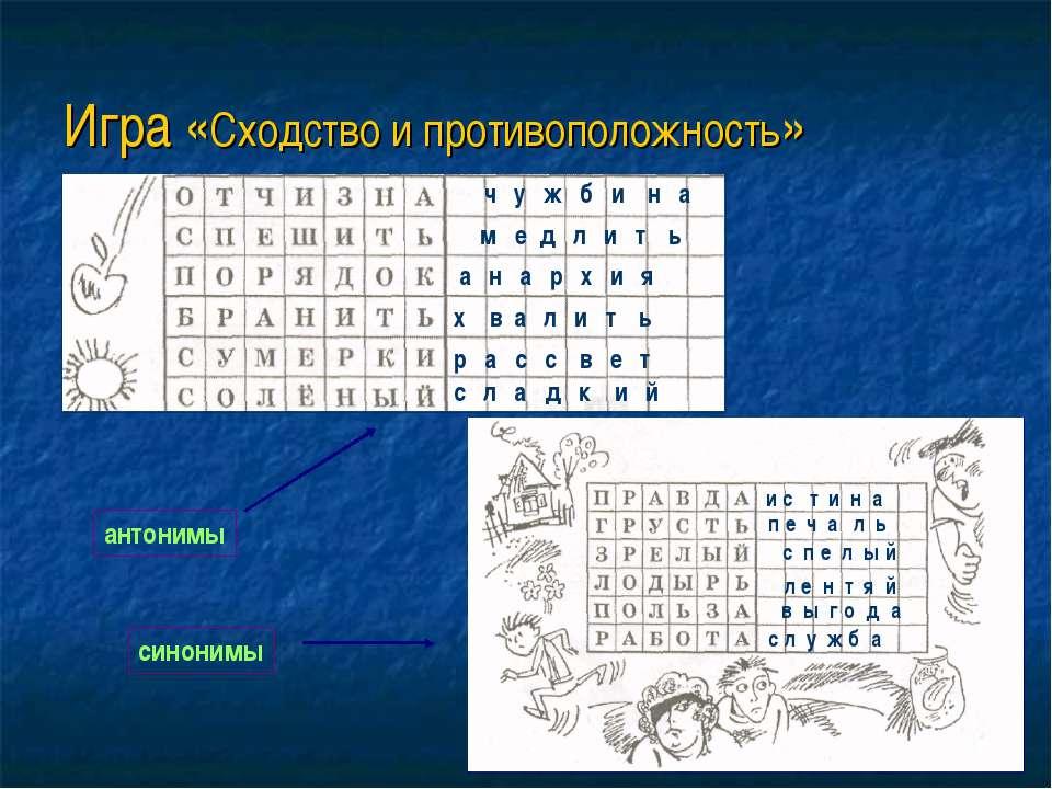 Игра «Сходство и противоположность» ч у ж б и н а м е д л и т ь х в а л и т ь...